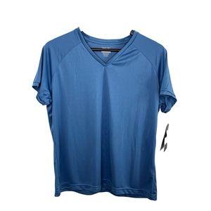 Reebok Blue V-Neck Short Sleeve T-Shirt XL New